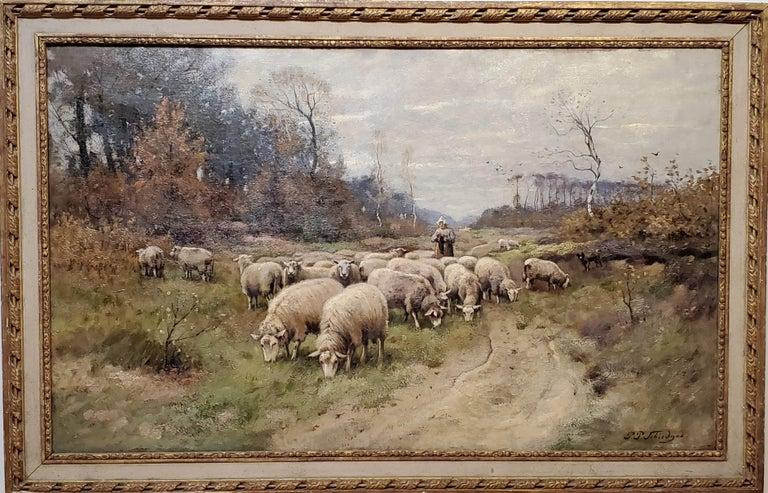 Petrus Paulus Schiedges Animal Painting - Peter Paulus Schiedges II, Dutch 19th C of a Shepherdess and Flock of Sheep