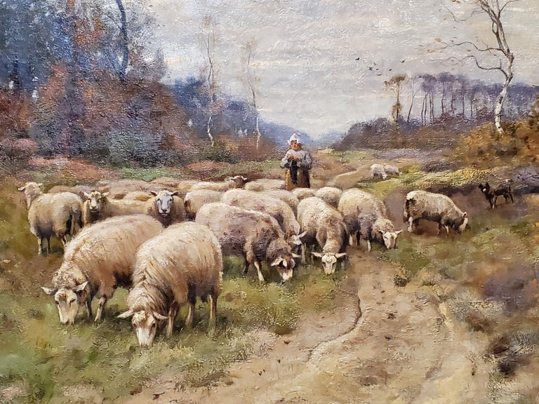 Classic Dutch Landscape of a Shepherdess And Flock of Sheep An Oil painting on canvas by Peter Paulus Schiedges II, a Dutch artist that lived between 1860 and 1922. This fine art is approximately 30