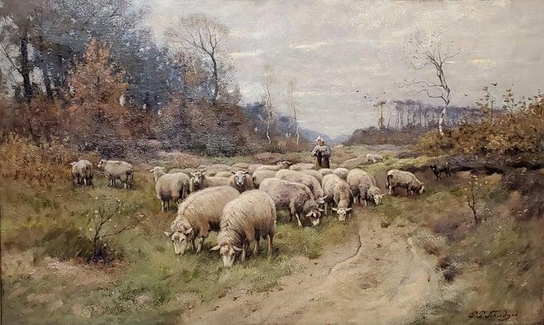 Peter Paulus Schiedges II, Dutch 19th C of a Shepherdess and Flock of Sheep - Painting by Petrus Paulus Schiedges