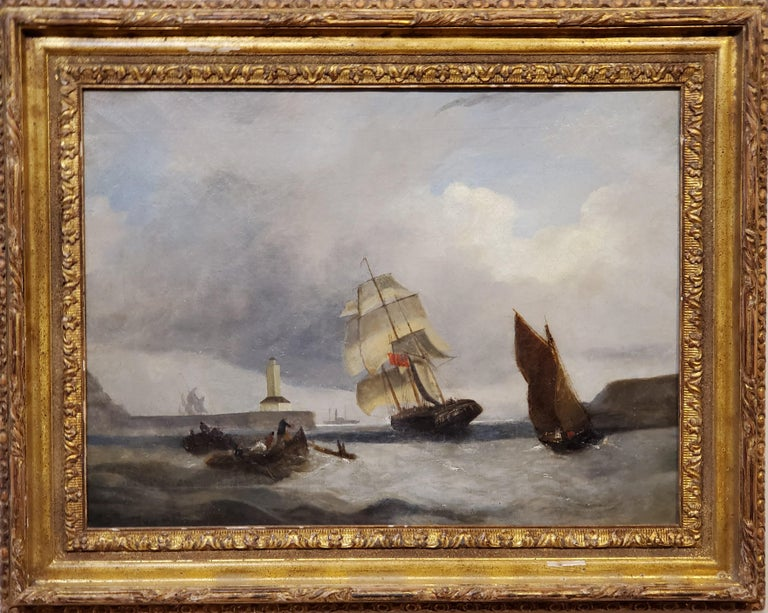 "Late 19th Century Marine Landscape Painting of a Ship Anchored Near A Lighthouse by British artist A. W. Harrison.   This maritime landscape painting is 18"" x 24"" and is oil on canvas.   This seascape is Signed verso (on the back) with a canvas"