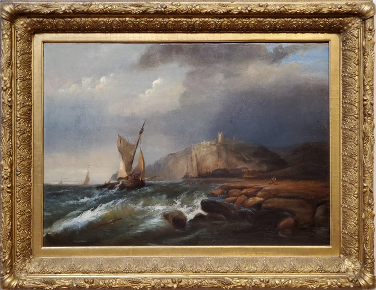 Ships Sailing Storm Waters Along The Coast An Oil Painting Signed by George Robert Bonfield, an English artist who lived between 1805 and 1898.  This maritime painting is oil on canvas, signed in the lower middle which was very hard to