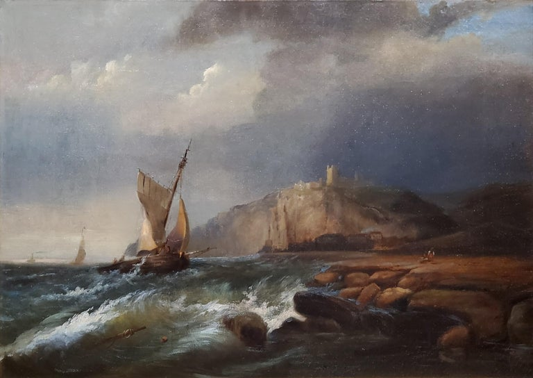 Ships Sailing Storm Waters A Landscape Oil Painting Signed by George Bonfield For Sale 3