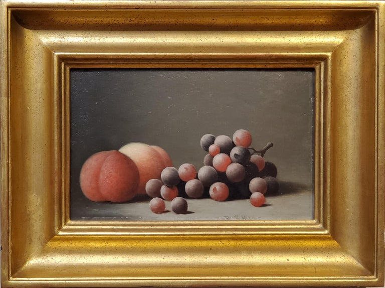 """Still life Oil Painting of peaches and grapes by Barton Hays  The still life painting measures 6.5"""" x 10"""" and is oil paint on artist board.  Signed by Barton S Hays in the lower right corner of the painting.  In the frame the oil painting measures"""