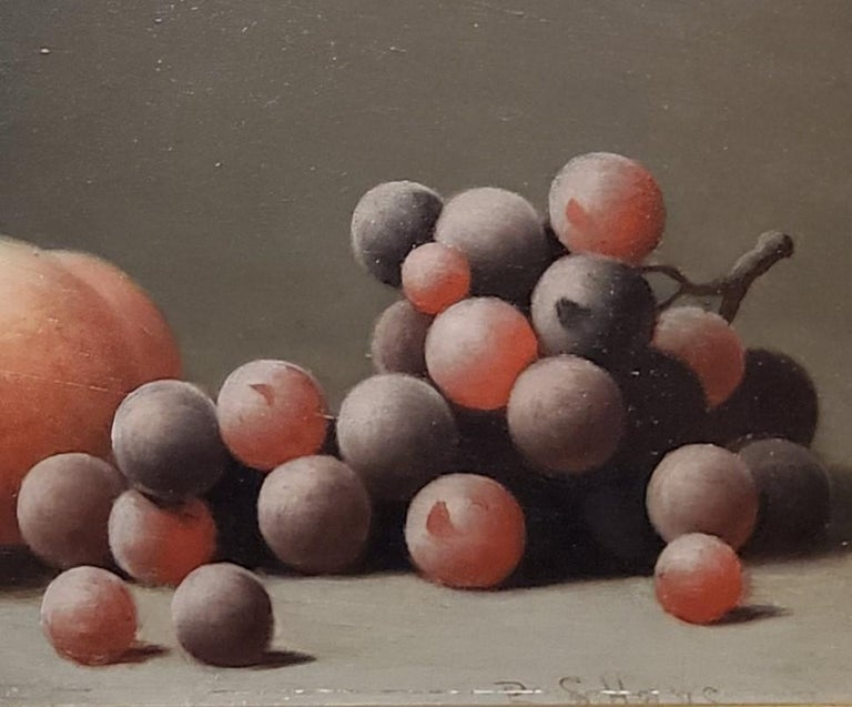 Still life Oil Painting of peaches and grapes by Barton Hays 1