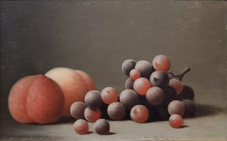 Still life Oil Painting of peaches and grapes by Barton Hays 3