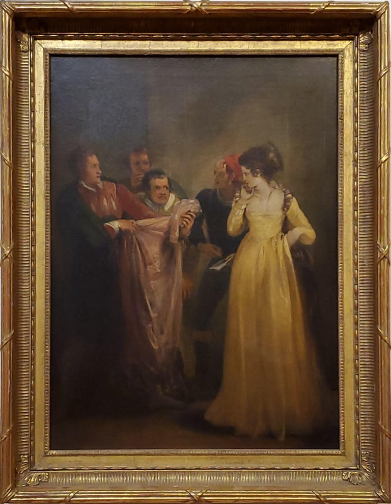 """Depiction of Katherine in the Taming of the Shrew, Shakespeare, oil on canvas, unsigned.  Provenance Feignin Galleries--see label, who believed it to be by the artist. In custom fluted cove frame. Measures 22"""" x 28"""" with the frame. Measures 17"""" x"""