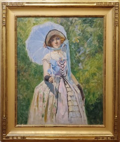 Portrait of a Woman Under A Bright Blue Umbrella dated 1924