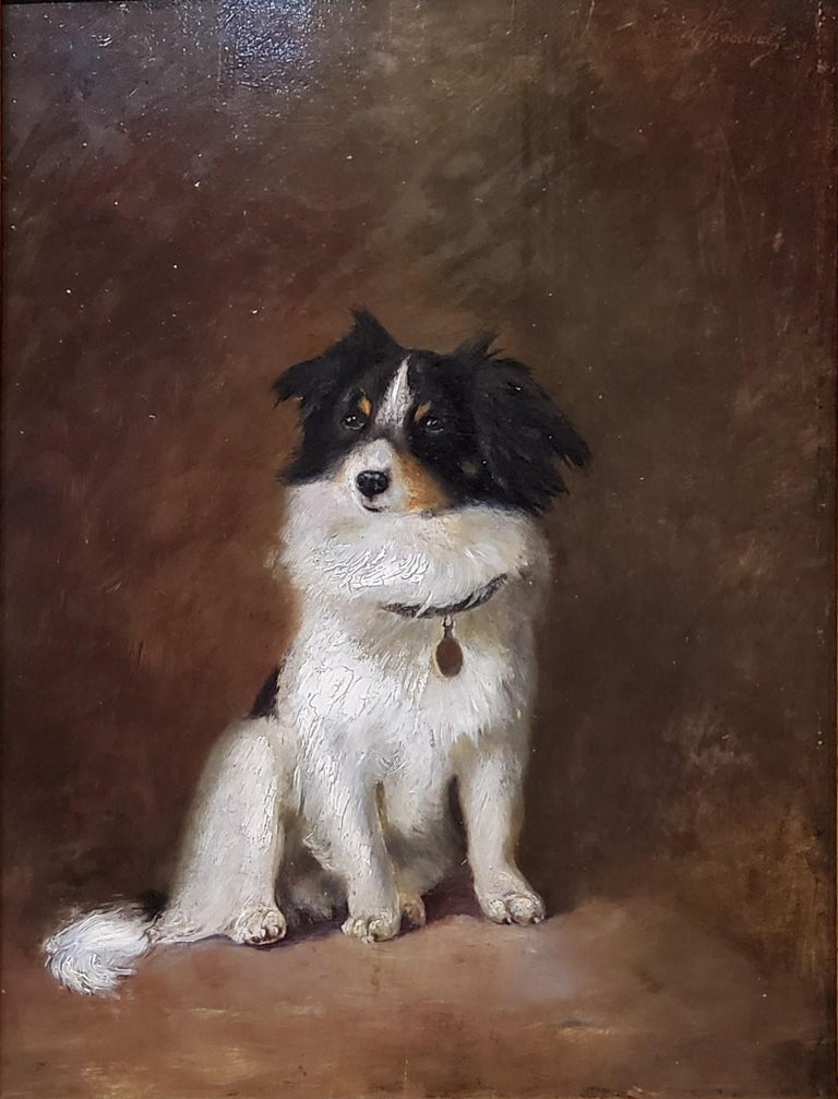 Oil Painting of a Dog by R Hendschel For Sale 1