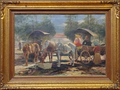 Horse and Carriage an Oil Painting signed by Carolus Pallya