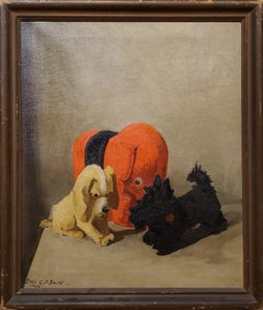 Still Life Oil Painting of Toys Signed By Lillian Gertrude Smith dated 1932