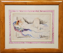 A Female Nude Watercolor Signed By Emil Ganso