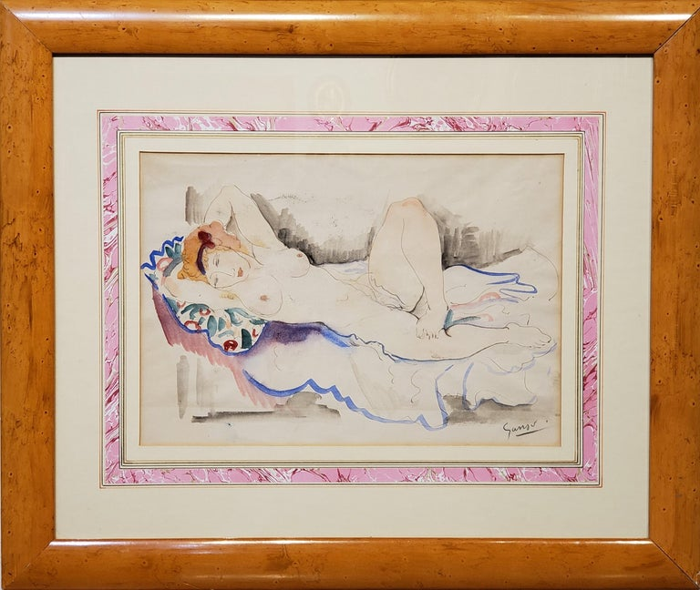 "A Female Nude Watercolor.  This watercolor on paper measures 15.5"" wide by 10.5"" tall and is signed in the lower right corner by Emil Ganso an American artist who lived between 1895 and 1941.  With mat and in the frame this figurative water color"