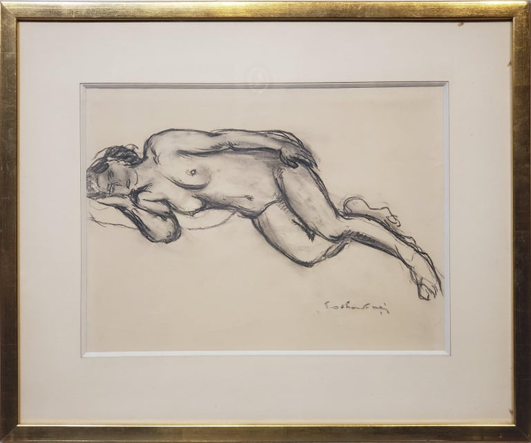 Chalk Drawing of a Nude Female Signed By Othon Friesz.  This is a Chalk Drawing of a nude female that is signed by Othon Friesz who was a French artist who lived between 1879 and 1949.  The drawing is signed in the lower right corner is in black