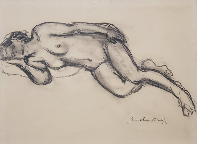Chalk Drawing of a Nude Female Signed By Othon Friesz For Sale 1