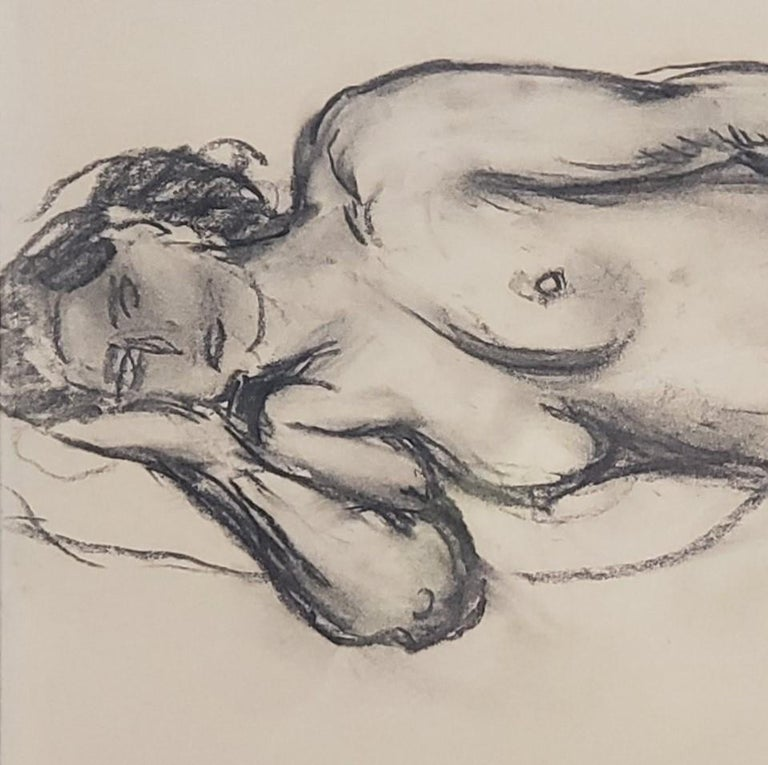 Chalk Drawing of a Nude Female Signed By Othon Friesz For Sale 2