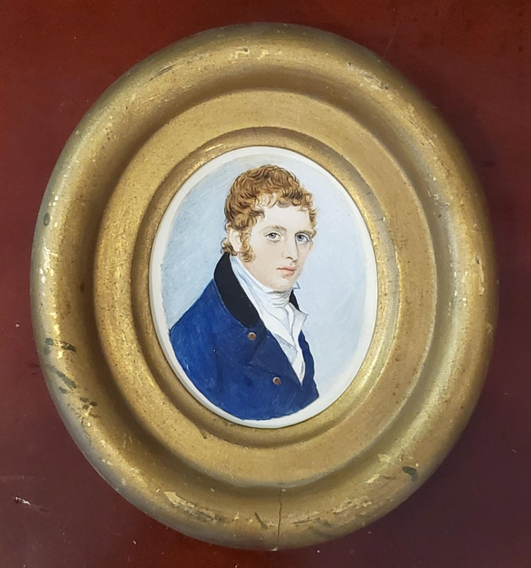 "American School Portrait Miniature circa 1840.   The American School portrait measures 3"" tall by 2.5"" wide and is watercolor on paper laid down on vinyl.  The portrait miniature measures 5"" wide by 5.5"" tall in an oval frame from the period the"