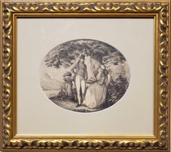 Ink Drawing of a Man Courting A Woman Signed by B. Koller dated 1796