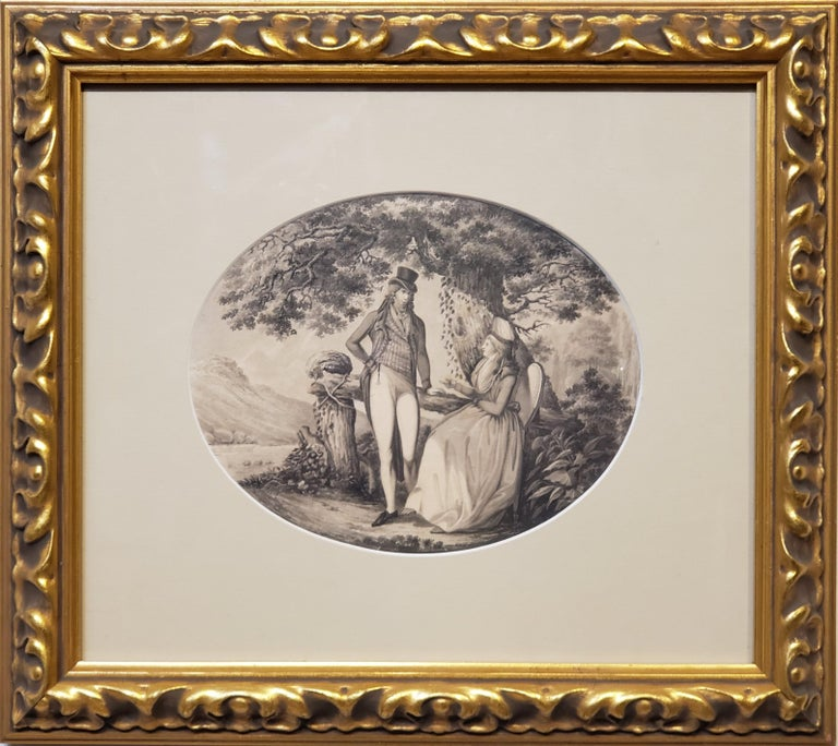 Ink Drawing of a Man Courting A Woman Signed by B. Koller dated 1796  This 18th Century Ink Drawing of a Man Courting A Woman is Signed by the Swiss artist B. Koller and dated 1796.  This is an oval shaped drawing of a couple in a landscape.  This