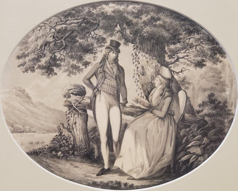 Ink Drawing of a Man Courting A Woman Signed by B. Koller dated 1796 For Sale 1