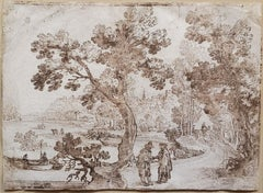Remigio Cantagallina Landscape Ink Drawing (Early 17th Century)