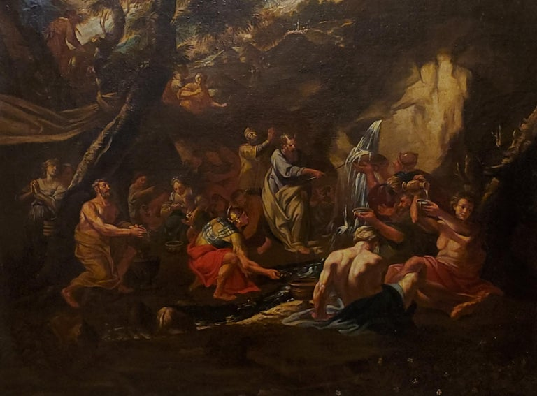 Old Masters Painting of Moses Striking the Rock,  Follower of P. F. Mola For Sale 1
