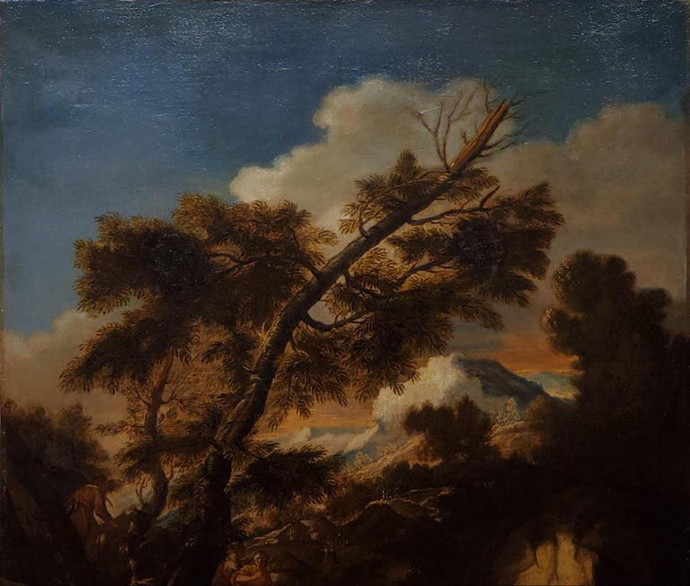 A painting of Moses Striking the Rock  This painting was made in the early 18th century by a follower of Pier Francesco Mola. Pier Francesco Mola is also known as Il Ticinese who was an Italian artist who lived between 1612 and 1666.   53.25 inches