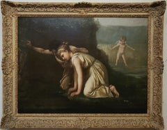 Painting of Echo and Narcissus Staring Into Narcissus' Reflection On The Water