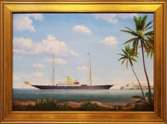Steam Yacht Viento Justo at Puerto Rico Seascape by Graham Flight in 1923