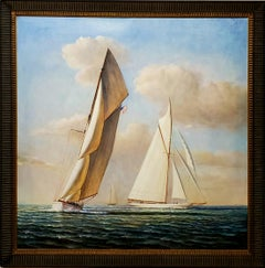 Square Painting of Sailboats At Sea by D. Tayler