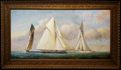 Wide Maritime Landscape Painting of 3 Sailboats At Sea by D. Tayler