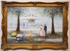 Families At The Carousel by J. Rey Huston