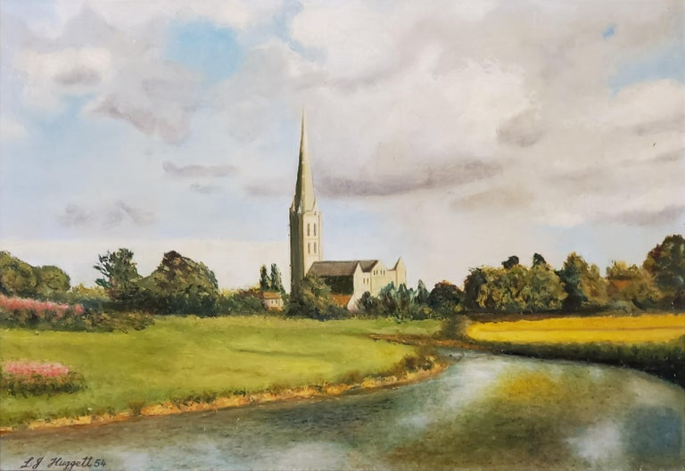 River Leading to the Salisbury Cathedral by L. J. Huggett For Sale 1
