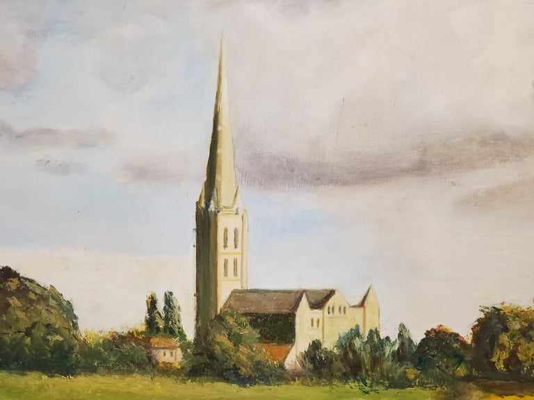 River Leading to the Salisbury Cathedral by L. J. Huggett For Sale 2
