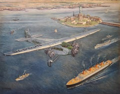 Air Mail Plane Boats and Statue of Liberty by T. G. Pollard