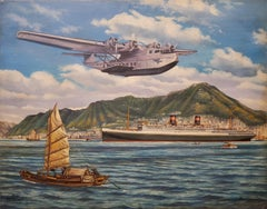 Sea Plane Chinese Clipper Steam Liner At Chinese Harbor by T. G. Pollard