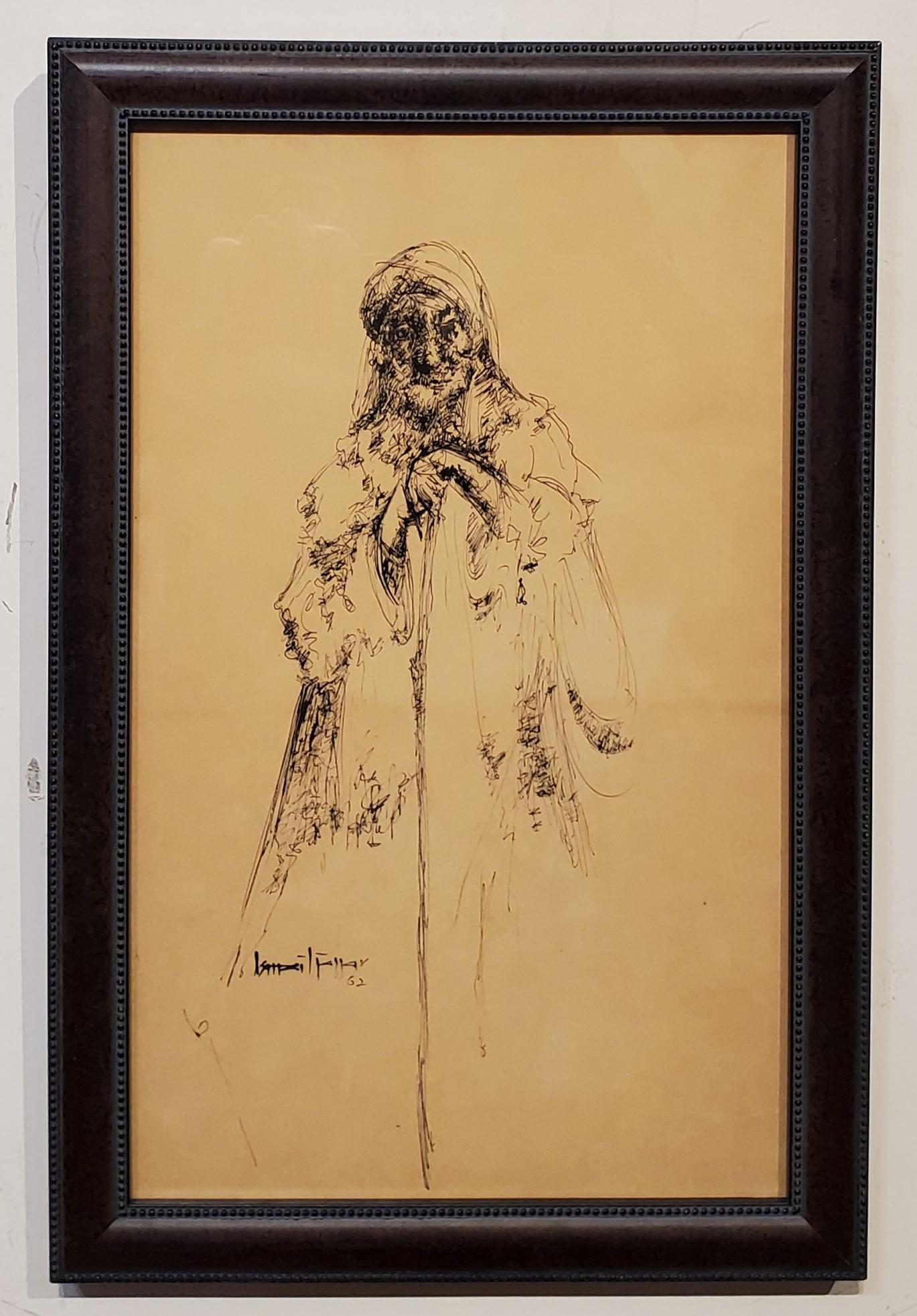 Ink Drawing of a Peasant Holding a Cane, dated '62