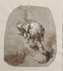 Netherlandish School Ink Drawing of a Lion, 17th/18th C.