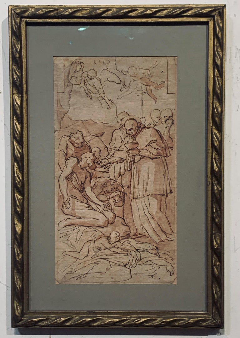 Unknown Figurative Art - Old Master Italian Drawing of Saint Gerome, 18th Ink Wash