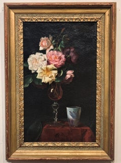 Still Life with Roses in a Vase on a Table top, by Emily Selinger 1848-1927