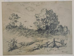 Pencil on Paper Landscape View signed Albert Groll  The Field with Fence