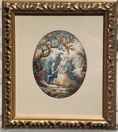 Late 18th C Watercolor on paper Showing A Couple in a Landscape Oval Format