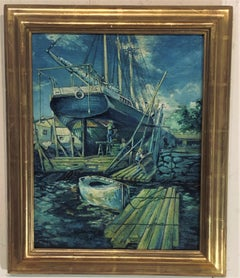 Boats Dockside by Edwin Murdock, the Alvenia.   Oil on canvas circa 1915.