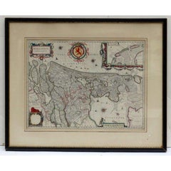 Willem Blaeu Map of Hollandia Comitatus Steel Engraving