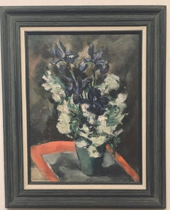 Table Top Floral Still Life in a Green Pottery Vase, Woman artist Grace H. Pugh