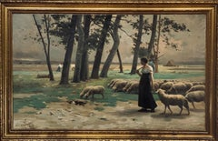 Alfred Copeland Landscape with Shepherdess  with Flock, dated 1885