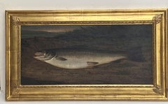 John Miles, American, Atlantic Salmon on a Riverbank, oil on canvas, dated 1885