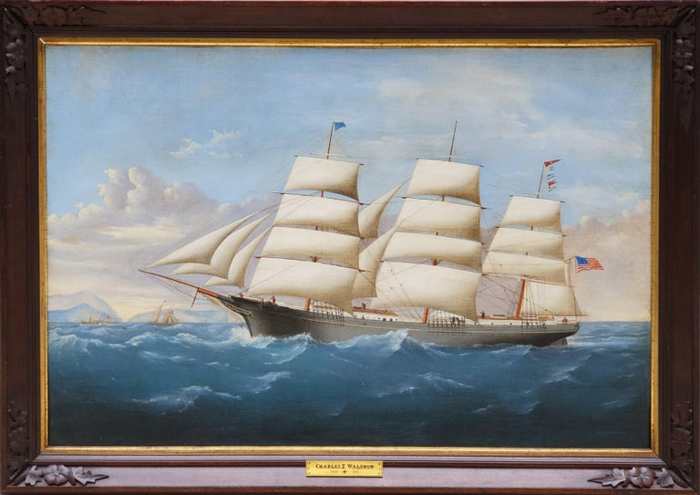 "A View of the Ship Pharos Flying the American Flag Signed by Charles Waldron  Oil on canvas, signed. in what appears to be the original carved walnut frame.   Framed it is 29.5"" x 41.5"". Without a frame the art is 24.5"" x 36.5"".  Depicting the"