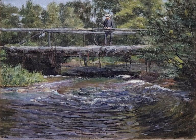 John Winthrop Andrews, American 1879-1964 Impressionist River View - Hudson River School Painting by John Winthrop Andrews