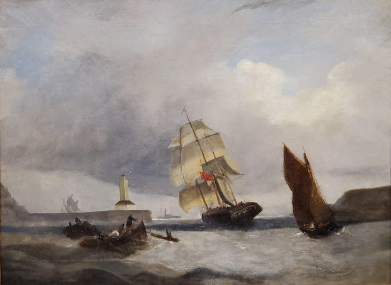 Late 19th Century Marine Landscape Painting of a Ship Anchored Near A Lighthouse For Sale 1