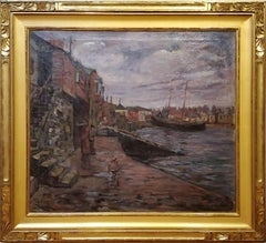 Along the Wharf Landscape Oil Painting by F Hutton Shill